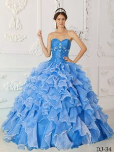 Sweetheart Long Quinces Dresses with Ruffles in and Organza