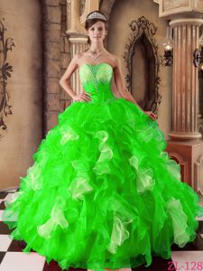 Beading Strapless Organza Dress for Quinceanera in Spring Green with Ruffles