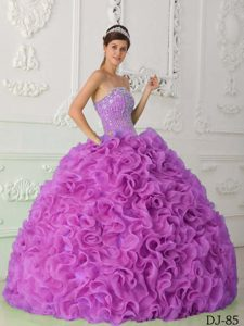 Glitz Ruffled and Beaded Organza Sweet 15 Dress in Lavender with Strapless