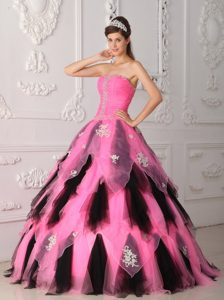 Princess Strapless Quince Gowns with Appliques and Beads in Pink and Black