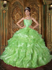 Beaded and Ruffled Organza Dresses for Quince in Spring Green with Flower