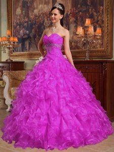 Beauty Sweetheart Fuchsia Sweet 16 Dress with Beads and Ruffles in Organza
