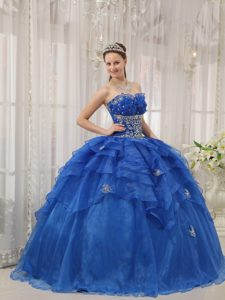 Organza Beaded and Appliqued Quinces Dresses in Blue with Layers in 2013