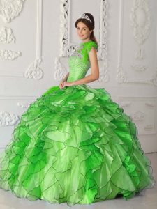 Ruffled Quinceanera Dress with Beadings and Lace Up Back in Spring Green
