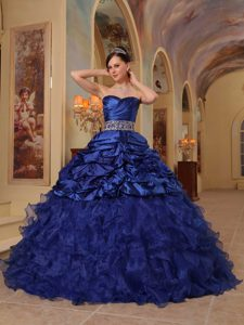 Beading and Organza Dress for Quinceanera with Pick-ups and Ruffles