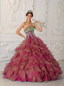New Ruffled and Appliqued Fuchsia Sweet 15 Dress with Strapless in Organza