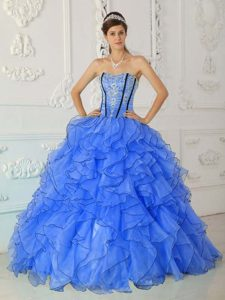Amazing Blue Strapless Quince Gowns in Organza with Appliques and Ruffles