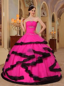 Strapless Hot Pink Quinceanera Gowns in 2012 with Beads and Black Hemline