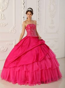 Beauty Strapless Organza and Quinces Dresses with Beads in Hot Pink