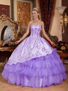 Sweetheart Purple Dresses for Quinceanera with Ruffles in and Organza