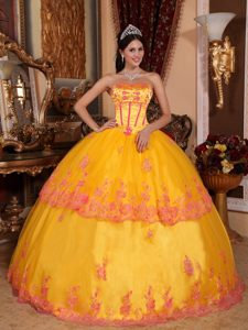 Orange Red Strapless Quinceanera Gown with Appliques in Organza and Lace