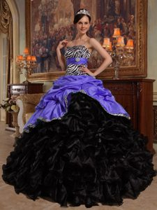 Purple and Black Zebra Quince Dresses with Pick-ups in and Organza