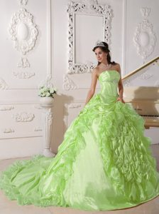Strapless Chapel Train Dress for Quince with Pick-ups in Yellow Green