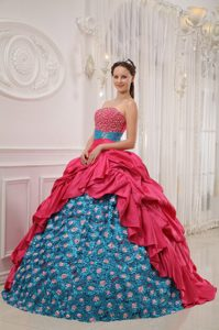 Pretty Beading Sweet Sixteen Dresses with Appliques in Red and Teal
