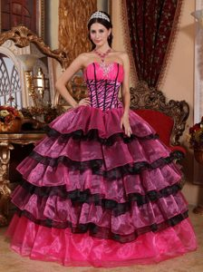 Sweetheart Zebra Quince Gowns with Ruffled Layers in Hot Pink and Black