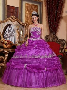 Strapless Appliqued Organza Quinceanera Dresses in Fuchsia with Pick-ups
