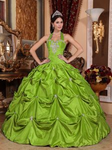 Halter Top Spring Green 2013 Sweet 16 Dresses with Appliques and Pick-ups
