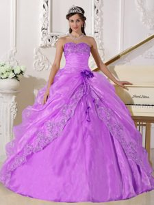 Strapless Organza Quince Gowns with Embroidery and Beadings in Lavender