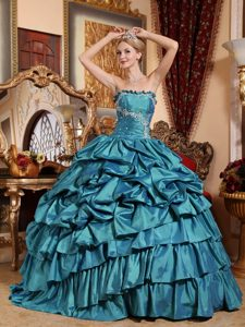 Classic Teal Strapless Quince Dresses in with Appliques and Pick-ups
