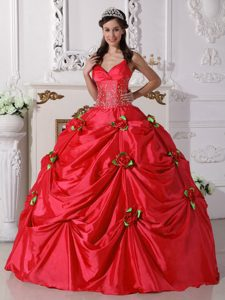 Straps Red Dress for Quince in and Beadings