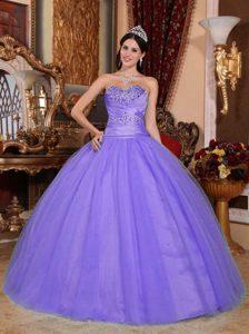 Dressy Sweetheart Long Sweet Sixteen Dresses with Beadings in Purple