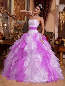 Multi-colored Sweetheart Sweet 16 Dresses in Organza with Beads and Ruches