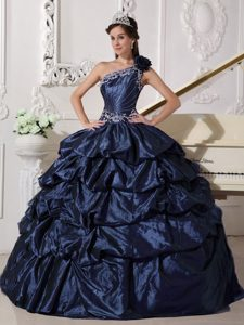 Glitz One Shoulder Quinceanera Gowns Pick-ups and Appliques in Navy Blue