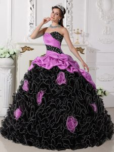 Lavender and Black Beaded Quince Dresses with Ruffles and Pick-ups in 2013