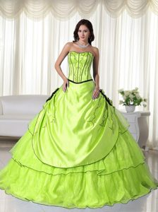 Sweetheart Spring Green Sweet Sixteen Dresses in with Black Hemline