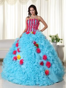 Aqua Blue Beaded Quince Dress in Organza with Colorful Handmade Flowers