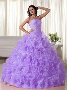 Beauty Ruffled Organza Dress for Quince in Lilac with Ruches and Appliques