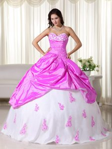 Sweetheart Hot Pink and White Sweet 16 Dresses with Appliques in Low Price