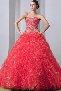 Watermelon A-line Sweet Sixteen Quinceanera Dress with Beads and Ruffles