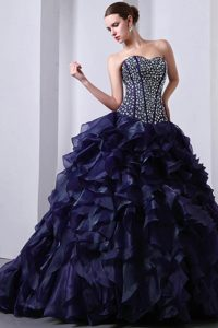 Sweetheart Ruffled Organza Sweet 16 Dress with Beadings in Navy Blue 2013