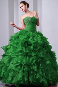 Best Sweetheart Ruching Quinceanera Gown with Ruffles and Beads in Green