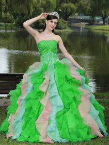 Multi-colored Strapless Dress for Quince with Beadings and Ruffles in Organza
