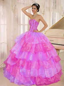 Organza Sweet Sixteen Quinceanera Dress with Ruffled Layers and Appliques