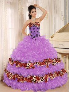 Sweetheart Leopard Dress for Quince with Ruffles and Lace Up Back for 2014