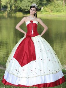 Strapless Layered Sweet 16 Dress in Red and White