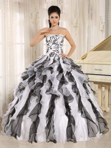 Black and White Strapless Quinceanera Gowns with Embroidery and Ruffles