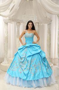 Pretty One Shoulder Quinces Dress with Appliques and Pick-ups in Aqua Blue