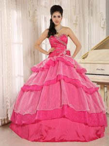 Hot Pink Beaded Quince Dress in and Organza with Flower and Layers