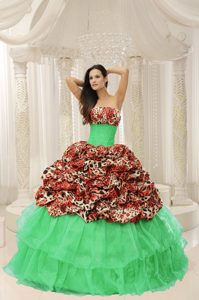New Leopard Sweet Sixteen Quinceanera Dresses with Pick-ups and Strapless