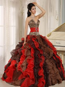 Wholesale V-neck Quinceanera Gowns in Multi-color with Leopard and Beads