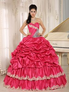Red Beaded and Appliqued Sweet 16 Quince Dresses in with Pick-ups