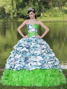 Sweetheart Printed Sweet 16 Dresses with Pick-ups and Beads in Multi-color