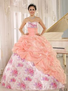Printing Sweetheart Quinceanera Gown with Beads and Pick-ups on Promotion