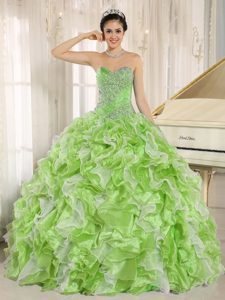Spring Green Sweetheart Quinces Dress in Organza with Beadings and Ruffles
