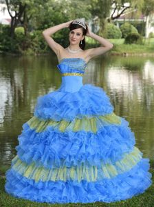 Strapless Beaded Quince Dress with Ruffled Layers in Aqua Blue and Yellow