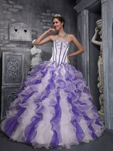 and Organza Sweet 16 Quinceanera Dress in Multi-color with Appliques